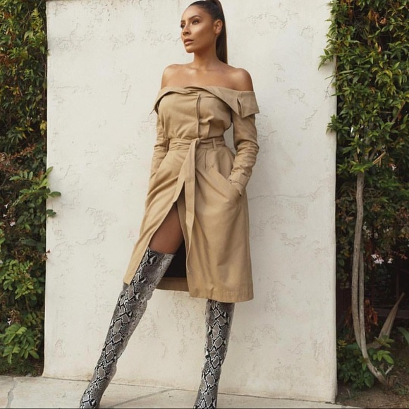 2e7b1458c8c0 House of CB Jackets   Blazers - House of CB Tan Trench Jacket off shoulder  dress
